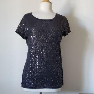 DKNY Charcoal Gray Women's Sequin T Shirt